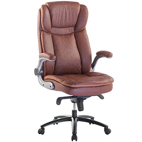 TOPSKY Executive Office Chair Large Leather Chair FILP Up Armrest Recline Locking Mechanism Memory Foam Seat (Brown)