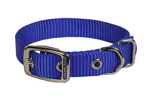 Deluxe Single Thick Nylon Collar - Hamilton Single Thick Nylon Deluxe Dog Collar, 3/4 by 20-Inch, Blue