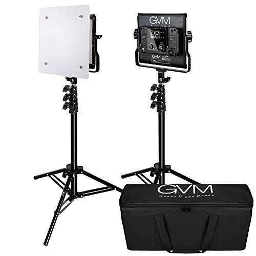 GVM Video Lighting Bi-color LED Video Light Variable 2300K~6800K With Digital Display For Studio. CRI97+ TLCI97 + Brightness of 10~100% Metal Housing for Video Photography Lighting Kit 29W