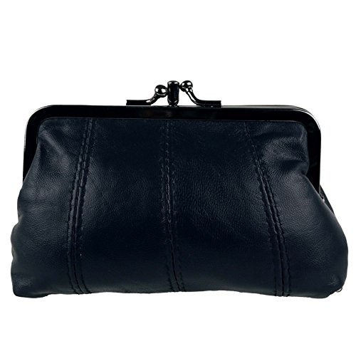 Clasp One (Oakridge Women's Leather Clasp Coin Purse By 3 Colours Zipped Section Handy (One Size, Navy Blue))