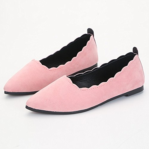 Flat Shallow shoes shoes Pointed mouth Pink Women's thin 5w74ZMKKq