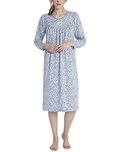 Calida Long Sleeve Gowns - Cotton Knit Nightgown in Blue Arbor (Avalon Blue Arbor, X-Small (4-6))