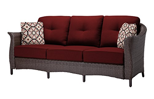 """Hanover GRAMERCY4PC-RED Furniture Gramercy 4-Piece, Crimson Red Outdoor Wicker Patio Seating Set - SET INCLUDES: One deep-cushioned sofa, two matching arm chairs, a coffee table and four decorative accent pillows HEAVY DUTY STEEL FRAME: Powder coated steel to resist rust GENEROUS CUSHION SIZE: 5"""" UV protected cushions offer maximum comfort while fashionable toss pillows are included to complete the style and enjoyment. - patio-furniture, patio, conversation-sets - 41aJ4v1qAcL -"""