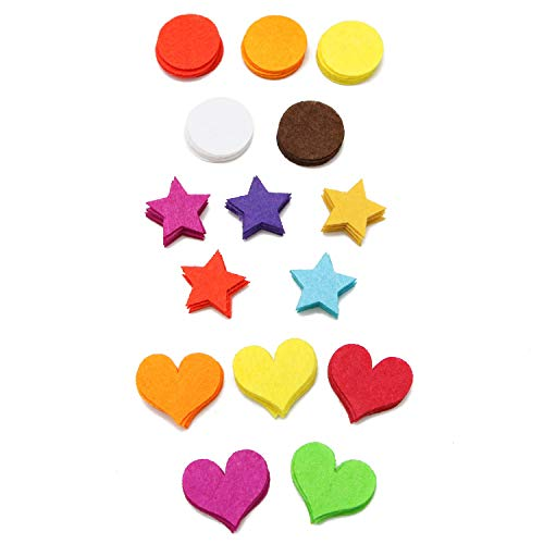 Monrocco 300 PCS Felt Embellishments - Assorted Colors Mini Felt Circle/Heart/Star Laser Cutout Scrapbooking Embellishment