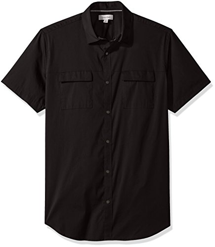 Calvin Klein Short Sleeve Shorts - Calvin Klein Men's Short Sleeve Woven Button Down Shirt, Black, Large