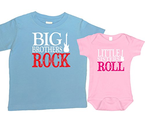 Big Rock Sisters (Bebe Bottle Sling- Big Brothers Rock/ Little Sisters Roll (includes 1 Blue t-shirt and 1 Pink bodysuit), Size 4T and 3-6 mo)