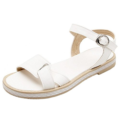 RAZAMAZA Plates Bout pour White Ouvert Femmes Sandales 7T7Uw