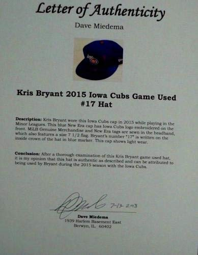 2015 Lot of (2) Kris Bryant, Iowa Cubs, Game Worn Hats Game Used MLB Hats