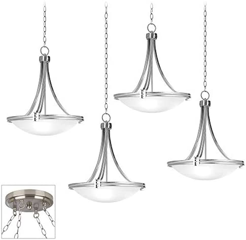 Deco Brushed Nickel Swag Pendant Chandelier Marbleized Glass 4-Light Fixture for Dining Room House Foyer Kitchen Island Entryway Bedroom Living Room – Possini Euro Design