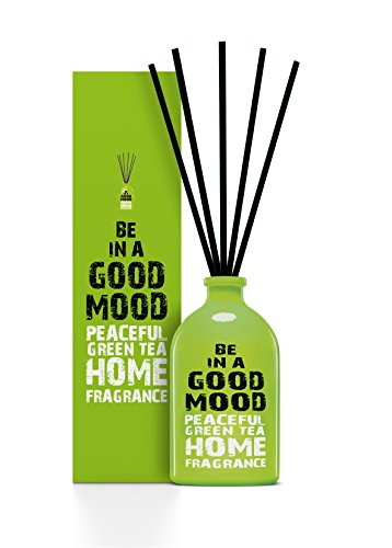 Patchouli Aromatic Oil Glass (Be in a Good Mood Aromatherapy Diffuser Sticks | Reed Diffuser Set | Aromatic Home Fragrance Set | Essential Oil Diffuser Sticks, Made of Natural Scented Oils Blend - 100 ML/3.4 OZ (Green Tea))