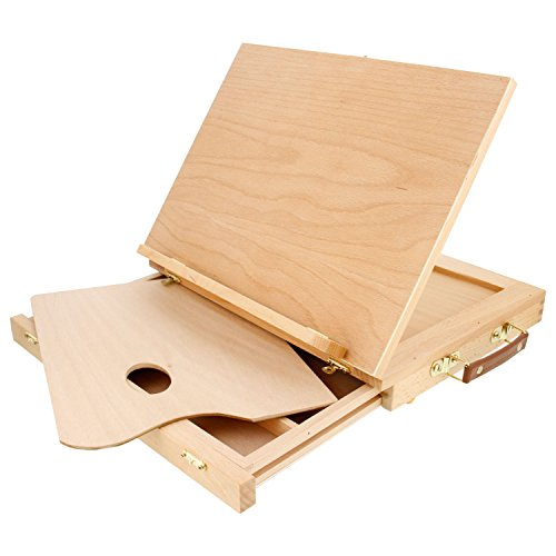 U.S. Art Supply Solid Solana Adjustable Wood Desk Table Easel with Storage Drawer, Paint Palette, Premium Beechwood - Portable Solid Wooden Artist Easel Top Board - Canvas Painting, Drawing Book Stand