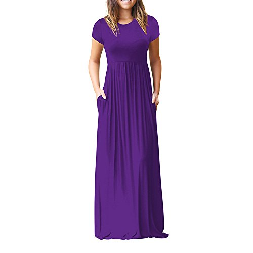 HGWXX7 Women Casual Loose Sliod Pockets Short Sleeve O Neck Long Party Dress (L, Purple) (Long Jacket Skirt Suit)