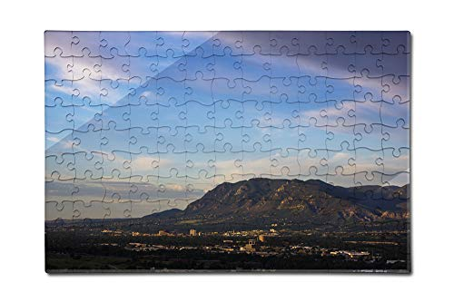 Colorado Springs, Colorado - Cheyenne Mountain and Downtown - Photography A-92645 (12x18 Premium Acrylic Puzzle, 130 Pieces) ()