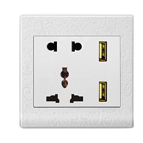 Global Dual USB Ports Wall Socket Charger Power Supply Outlet Face Plate Panel (C)