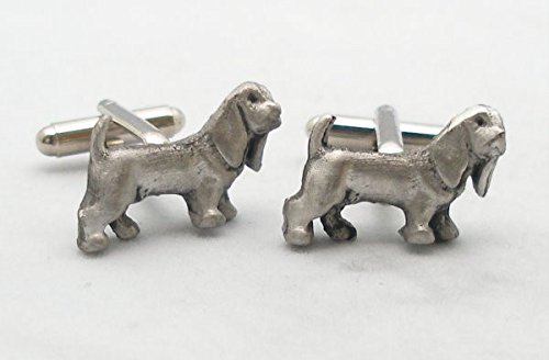 Basset Hound Dog Pewter Cuff Connectors - Gift Boxed