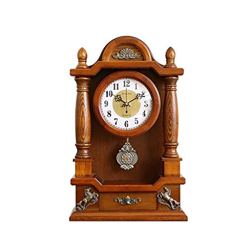Health UK Clock- Clock Classical 12-Inch Solid Wood Pendulum Oak Antique Quartz Desktop Clock Mute Sitting Bell With Small Drawers Welcome by ZAZAZA