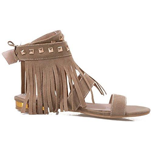 COOLCEPT Mujer Moda Al Tobillo Sandalias Punta Abierta Slingback Zapatos With Borlas Khaki
