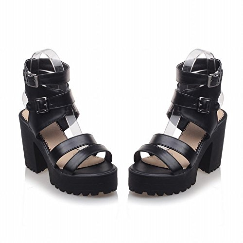 Pied De Charme Femmes Plate-forme Chunky Talon Peep Toe Sandale Noir