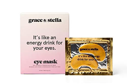 Grace & Stella Anti-Wrinkle + Energizing Gold Collagen Eye Masks | Depuffing Undereye Patches | Vegan & All-Natural (12 Pairs) (Best Under Eye Mask)