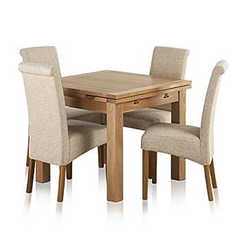Oak Furniture Land Dorset Natur Esstisch Eiche Massiv Set 3 Ft