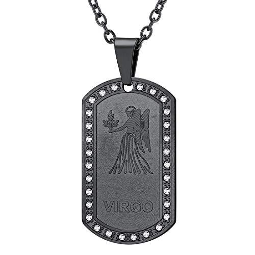 - U7 Jewelry Stainless Steel/18K Gold Plated Chain Dog Tag Pendant Men Women Zodiac Necklace (Black Virgo)
