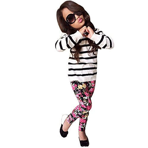 Boomboom Baby's Clothes Set, 2017 Autumn Baby Girls Stripe Long Sleeve Tops+Floral Long Pants (6-7Y, -