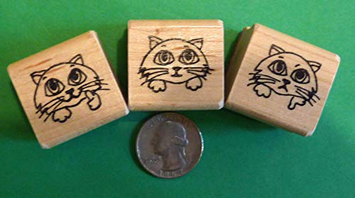 (Quality Custom Rubber Stamps Kitty Cat Smiley Faces Set of 3, Regular Size, Teacher's Rubber Stamps Set Carved Wooden Stamps)