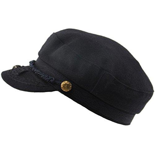 Blue Apparel Sailor - Men's Greek Fisherman Sailor Fiddler Winter Wool Driver Hat Flat Cap S/M