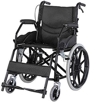 NACHENW Klappbarer Leichtgewicht-Rollstuhl aus Kohlenstoffstahl mit rutschfesten Armlehnen und Anti-Dekubitus-Kissen...