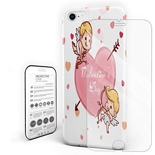 Cute Cupid Arrow Heart Valentine's Day Phone Case Compatible with iPhone 7 and iPhone 8, Slim Shock Absorption Hard Plastic Phone Cover with Tempered Glass Screen Protector