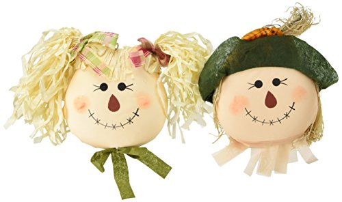 Worth Imports Nineteen Inch Hanging Girl Scarecrow Face Set of 2, 19