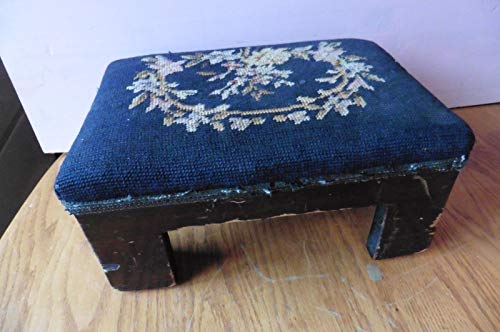 Genric Foot Stool Ottoman Floral Needlepoint Upholstery Vintage Wooden Leg Antique Pouf