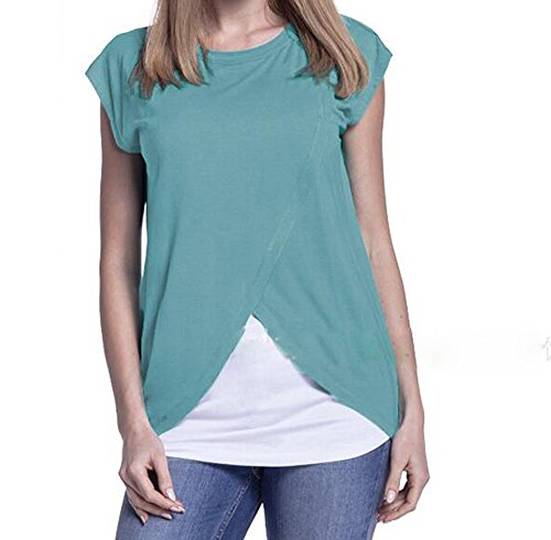 Per T Donna Da Al shirt Seno L'allattamento Neck Sleeveless Round Azzurro Mother Tops Care rxqwExC