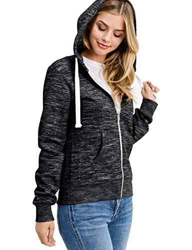 esstive Women's Basic Fleece Full-Zip Hooded Jacket, Marled Black, -