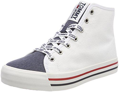 Hilfiger Denim Dames Tommy Jeans Toevallige Midden Gesneden Hoog Sneaker Wit (rwb 020)