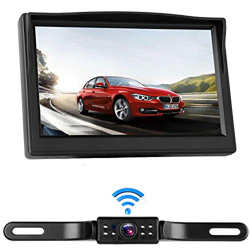 (iStrong Digital Wireless Backup Camera System for RV/Cars/Trailers/Truck 5'' Monitor Kit Rear/Front/Side View Camera Reverse/Continous Use Guide Lines ON/Off IP69 Waterproof)