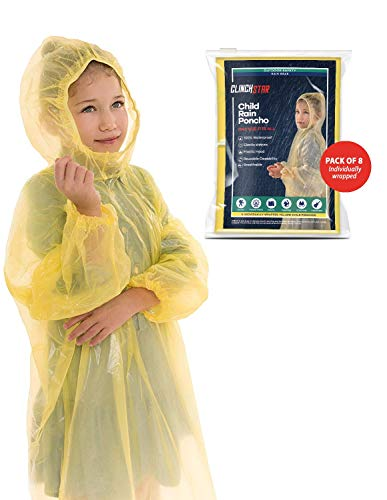 Clinch Star Safe Rain Poncho with Elastic Hood and Sleeves for Kids 100% Waterproof- 8 Family Pack