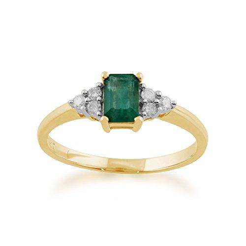 Gemondo Emerald Ring, 9ct Yellow Gold 0.53ct Natural Emerald & Diamond...