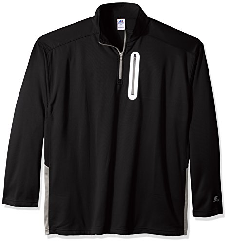 Russell Athletic Men's Big and Tall Ls 1/4 Lc Zip Pkt W/r Logo, Black, 2X