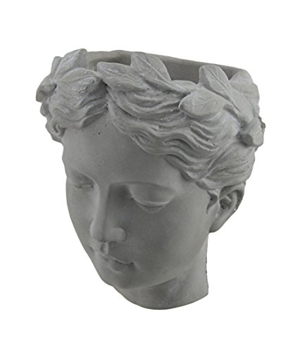 Cement Planters Classic Greek Lady Indoor/Outdoor Wall Mounted Cement Head Planter 7 X 7.5 X 5 Inches Gray by Zeckos (Image #1)