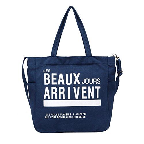 Gibgas damen mama casual canvas handtasche shopper Schultertaschen Henkeltaschen für notebook ipad babypflege mit große Kapazität 31.5*34.5*12.5cm (Blau)