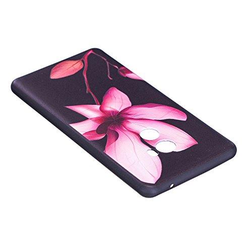 Funda para Xiaomi Mi Mix 2 , IJIA Flores Hermosas TPU Negro Silicona Suave Cover Soft Case Tapa Caso Parachoques Carcasa Cubierta para Xiaomi Mi Mix 2 (5.99) (BF39)