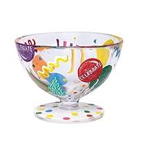 Lolita Hand Painted Glass Sundae Bowl, Celebrate