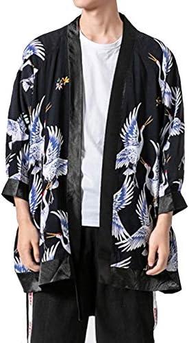 [エレガンザー]メンズ 夏 秋 カーディガン 7分袖 和式パーカー 開襟シャツ 大きいサイズ ファッション カジュアル ドロップショルダー 薄手 ゆったり コート 鶴柄プリント 羽織 おしゃれ