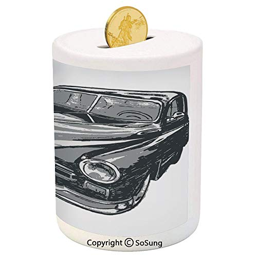 SoSung Cars Ceramic Piggy Bank,Hand Drawn Vintage Vehicle with Detailed Front Part Hood Lamps Rear View Mirror 3D Printed Ceramic Coin Bank Money Box for Kids & Adults,Grey Blue Grey