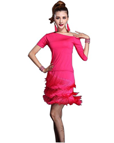 Whitewed Tassel 1920 Flapper Girls Style Fashion Dress Attire with Sleeves Pink, Pink, X - Small / (Flapper Girl Attire)