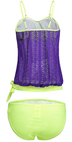 OLIPHEE Mujer Bandeau Swimsuits Soft Cup Strapless Blusa Tankini con Breifs Púrpura
