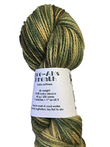 Artisan Yarns Hand Dyed Baby Alpaca Yarn, Hand Painted: Pine Grove, Dk Weight, 80 Grams, 200 Yards, 100% Baby ()