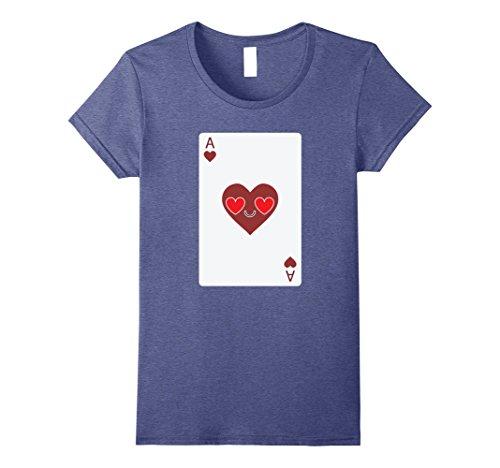 [Women's Poker Card Emoji Heart & Love Eye Shirt T-Shirt Sure Win Tee XL Heather Blue] (Chess Player Costume)