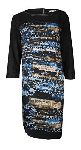 UPC 755405763899, DKNYC Women's Faux Leather Trim Suede Print Dress (XL, Blue Lake)